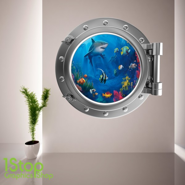 SHARK PORTHOLE WALL STICKER ...