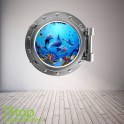 DOLPHIN PORTHOLE WALL STICKER - BEDROOM LOUNGE SEA DECAL P14