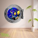 TROPICAL FISH PORTHOLE WALL STICKER - BEDROOM LOUNGE SEA DECAL P17