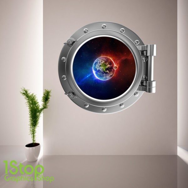 space planet porthole wall sticker bedroom lounge sea