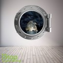 PIRATE SHIP PORTHOLE WALL STICKER - BEDROOM LOUNGE SEA DECAL P19