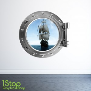 PIRATE SHIP PORTHOLE WALL STICKER - BEDROOM LOUNGE SEA DECAL P26