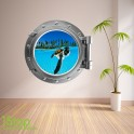 SEA TURTLE PORTHOLE WALL STICKER - BEDROOM LOUNGE SEA DECAL P27