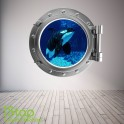 WHALE PORTHOLE WALL STICKER - BEDROOM LOUNGE SEA DECAL P29