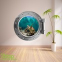 TURTLE PORTHOLE WALL STICKER - BEDROOM LOUNGE SEA DECAL P32