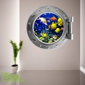 TROPICAL FISH PORTHOLE WALL STICKER - BEDROOM LOUNGE SEA DECAL P33