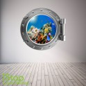 TROPICAL FISH PORTHOLE WALL STICKER - BEDROOM LOUNGE SEA DECAL P34