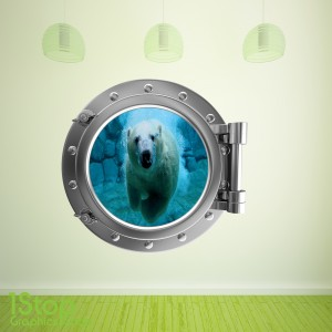 POLAR BEAR PORTHOLE WALL STICKER