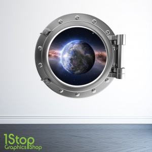PLANET EARTH PORTHOLE WALL STICKER