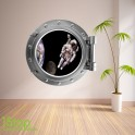 ASTRONAUT PORTHOLE WALL STICKER - BEDROOM LOUNGE SPACE DECAL P37