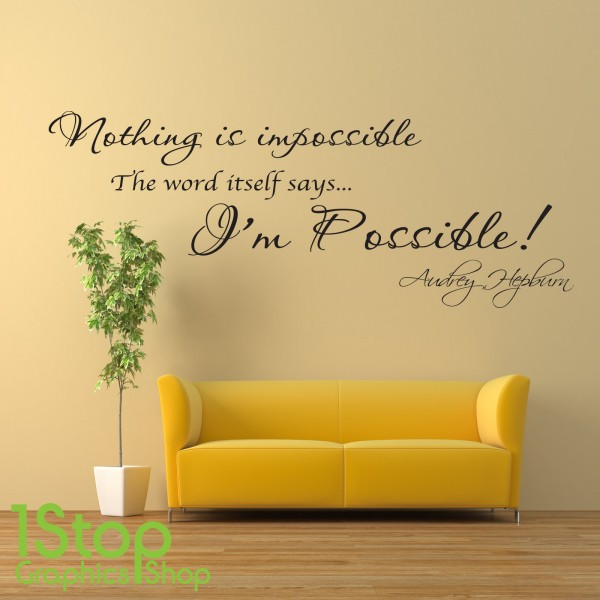 AUDREY HEPBURN WALL STICKER QUOTE - HOME BEDROOM WALL ART DECAL LOVE ...