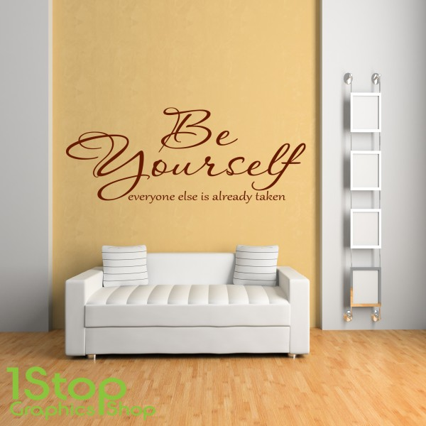 BE YOURSELF WALL STICKER QUOTE - HOME BEDROOM WALL ART DECAL LOVE ...