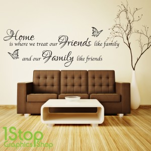 Home Friends Family Wall Sticker Quote Bedroom Lounge