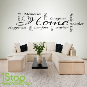 HOME WORDS WALL STICKER & HOME WORDS WALL STICKER QUOTE - BEDROOM LOUNGE KITCHEN WALL ART ...