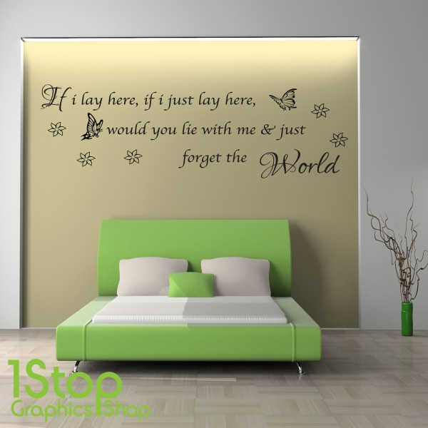 SNOW PATROL IF I LAY HERE WALL STICKER ... Part 54