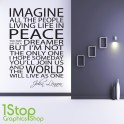 JOHN LENNON IMAGINE WALL STICKER QUOTE - FAMILY LOVE BEDROOM WALL ART DECAL X102