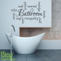 BATHROOM WALL STICKER - RELAX UNWIND WORDS HOME WALL ART QUOTE X56