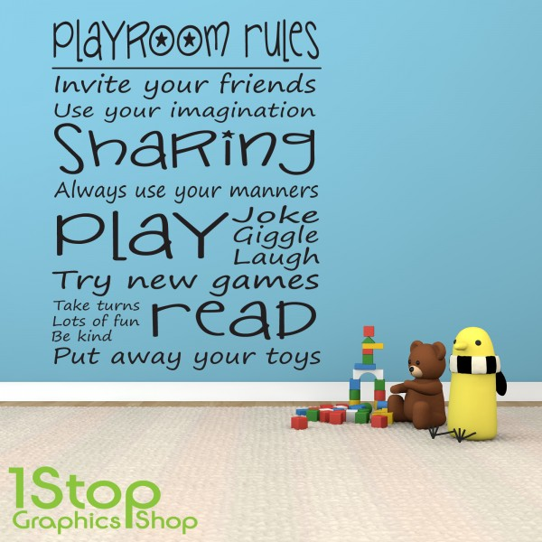 playroom rules wall sticker quote - bedroom girls boys wall art