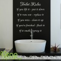 TOILET RULES WALL STICKER QUOTE - BATHROOM HOME WALL ART DECAL X131