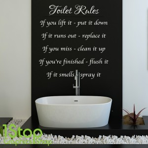 TOILET RULES WALL STICKER & TOILET RULES WALL STICKER QUOTE - BATHROOM HOME WALL ART DECAL X131 ...