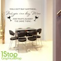 WINE HAPPINESS WALL STICKER QUOTE - HOME KITCHEN LOVE WALL ART DECALX137