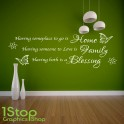 HOME FAMILY BLESSING WALL STICKER QUOTE - HOME LOUNGE LOVE WALL ART DECAL X139