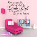 BEST LITTLE GIRL WALL STICKER