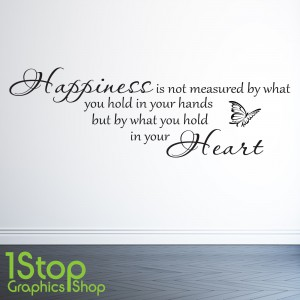 HAPPINESS IS NOT MEASURED WALL STICKER