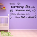 WITH A BUTTERFLY KISS WALL STICKER QUOTE - KIDS GIRLS BOYS WALL ART DECAL X200