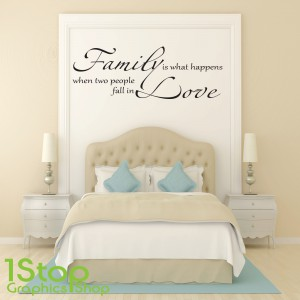 FAMILY IS WHAT HAPPENS WALL STICKER