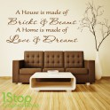 A HOUSE IS MADE OF WALLS AND BEAMS WALL STICKER QUOTE - WALL ART DECAL X150
