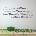 I SEE THE MOON WALL STICKER QUOTE - KIDS BEDROOM LOVE WALL ART DECAL X203