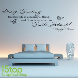MARILYN MONROE KEEP SMILING WALL STICKER