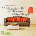 THE BEST THINGS IN LIFE WALL STICKER QUOTE - BEDROOM WALL ART DECAL X164