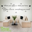 WHEN YOU LOVE WALL STICKER QUOTE - BEDROOM LOUNGE WALL ART DECAL X167