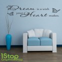 A DREAM IS A WISH WALL STICKER QUOTE - BEDROOM LOUNGE WALL ART DECAL X168