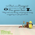 THE OWL AND THE PUSSYCAT WALL STICKER QUOTE - KIDS NURSERY WALL ART DECAL X207