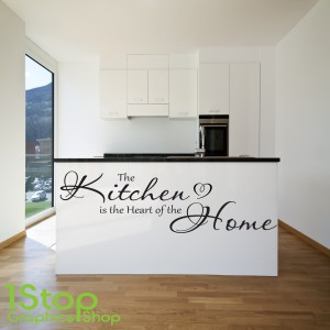 The kitchen is the heart of the home wall sticker quote for Kitchen design quotes