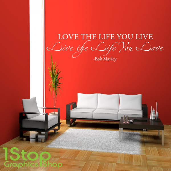bob marley love the life wall sticker quote bedroom lounge wall art