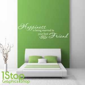 HAPPINESS IS BEING MARRIED WALL STICKER