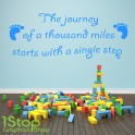 THE JOURNEY OF A THOUSAND MILES WALL STICKER QUOTE - KIDS WALL ART DECAL X194