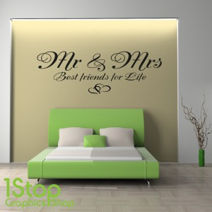 MR & MRS BEST FRIENDS FOR LIFE WALL STICKER