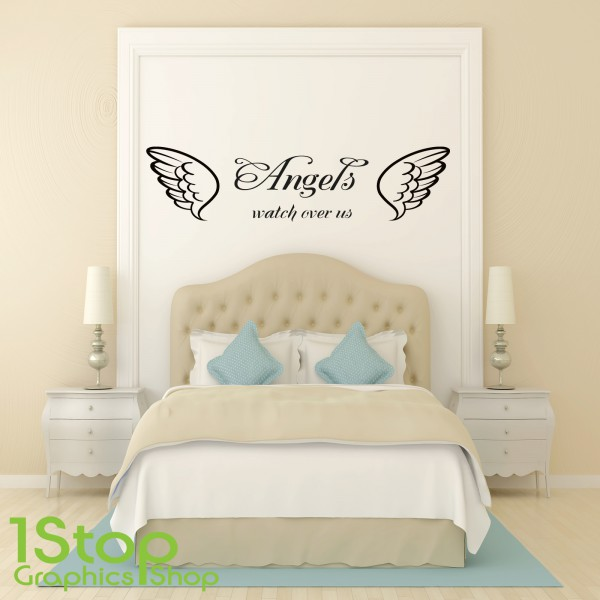 ANGELS WATCH OVER US WALL STICKER QUOTE BEDROOM LOUNGE WALL ART - Bedroom wall decals uk