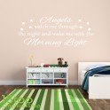 ANGELS WATCH ME THROUGH THE NIGHT WALL STICKER QUOTE - KIDS WALL ART DECAL X198