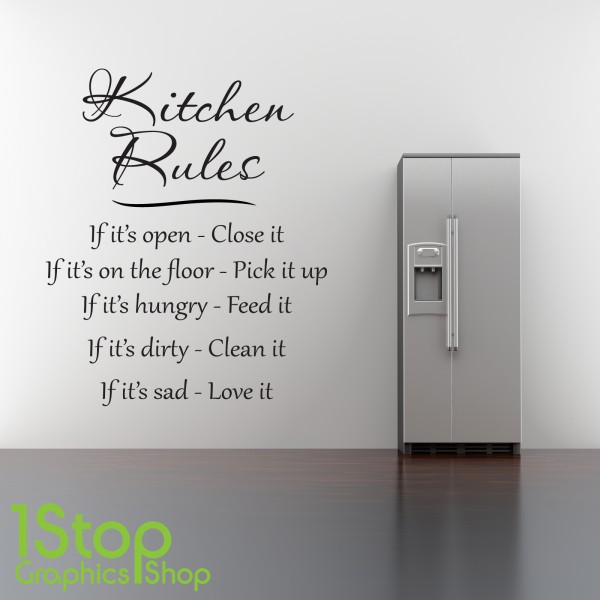 KITCHEN RULES WALL STICKER QUOTE
