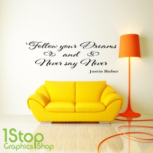 JUSTIN BIEBER FOLLOW YOUR DREAMS WALL STICKER
