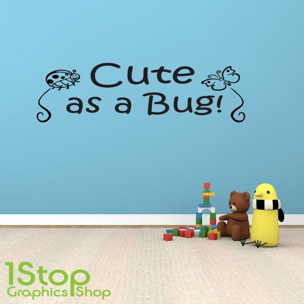 cute as a bug wall sticker quote kids bedroom nursery