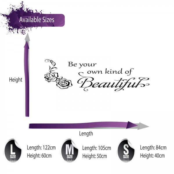 Be Your Own Kind Of Beautiful Wall Art be your own kind of beautiful wall sticker quote - lounge wall art