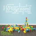 PLAYROOM RULES WALL STICKER QUOTE - KIDS BEDROOM NURSERY WALL ART DECAL X220