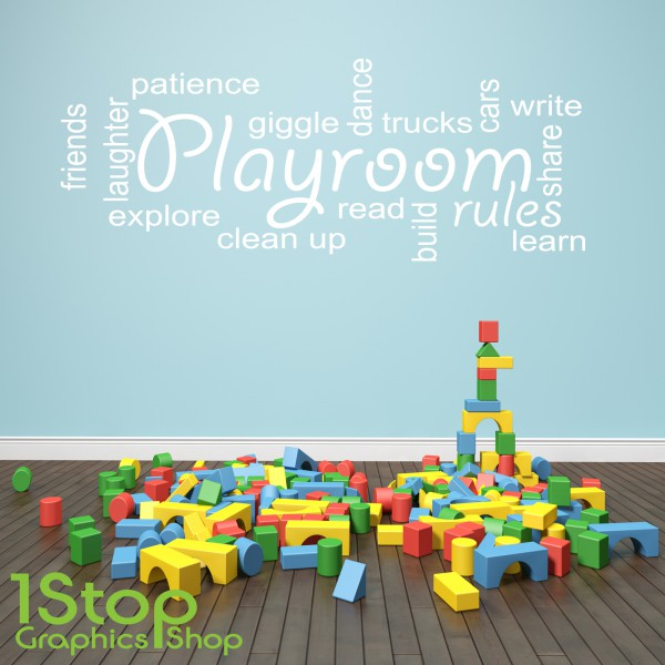 playroom rules wall sticker quote kids bedroom nursery
